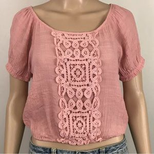 E Hanger M Junior's Pink Cropped Top Short Sleeves